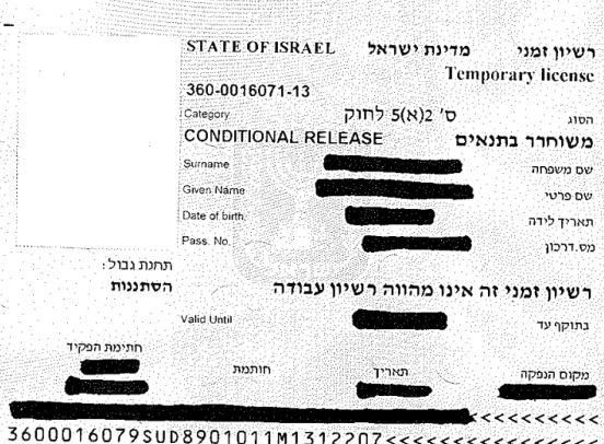רישיון של עובד זר שמותר להעסיק אותו
